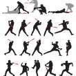 21 detail baseball poses in silhouette — Stockvectorbeeld