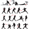 21 detail baseball poses in silhouette - Stock Vector