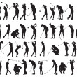 40 female golf poses silhouette — Stock Vector