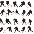 20 detail ice hockey poses in silhouette — Stock Vector