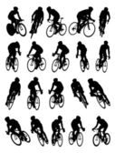 20 detail racing bicycle silhouette — Stock Vector