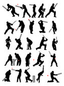 25 detail cricket poses in silhouette — Stockvektor