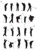 20 golf poses silhouette. — Stock Vector