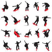 20 skateboarders silhouette — Stock Vector