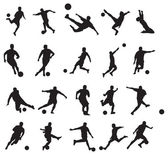 20 soccer poses silhouette — Stock Vector