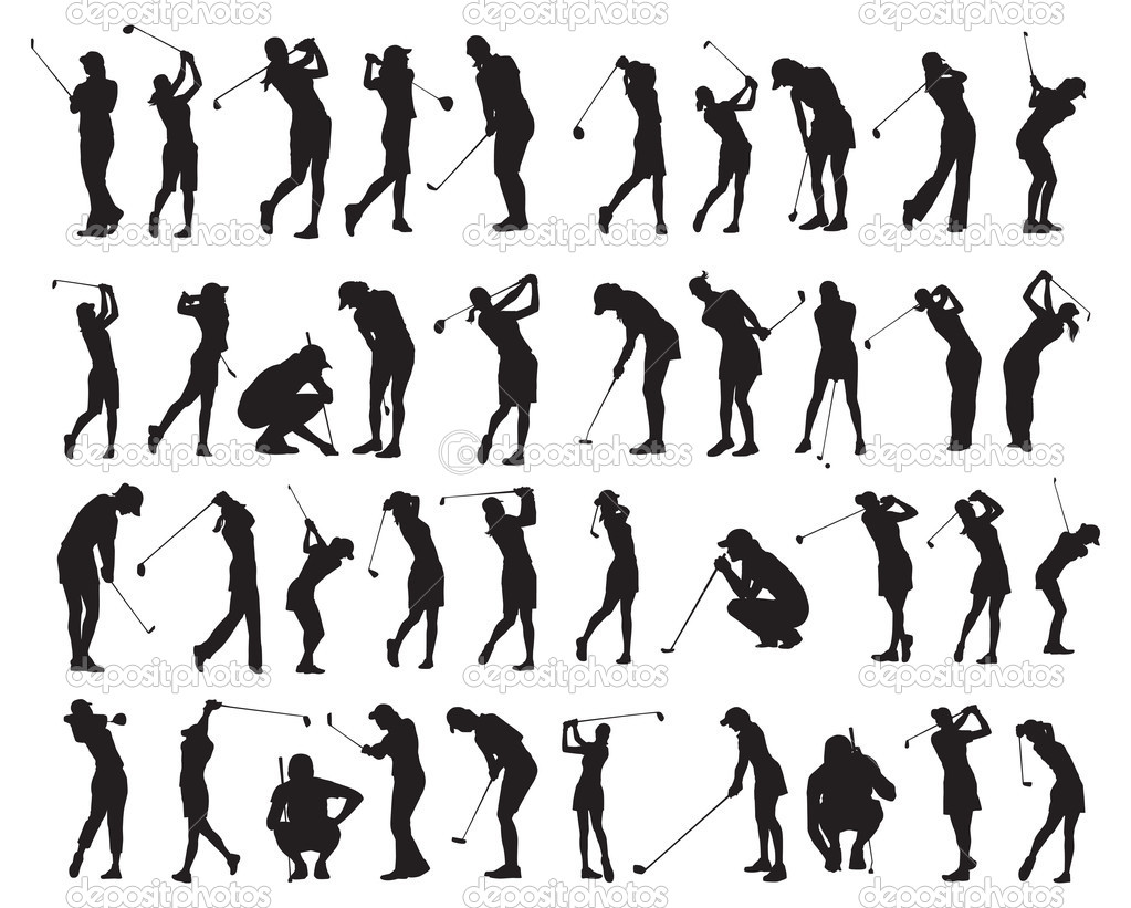 Golf f 233 minin 40 poses silhouette image vectorielle chwloon