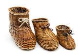 Dekoratif hasır ayakkabı farklı boyutlarda — Stok fotoğraf