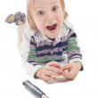 Boy with hammer and pliers — Stock Photo #10225223