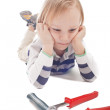 Boy with hammer and pliers — Stock Photo #10225246