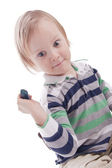 Positive boy with hammer on a isolated background — Stock Photo