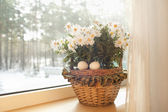 White eggs are in a basket with flowers on a window sill in the house — Stock Photo