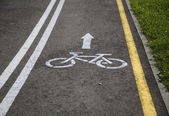 Bicycle road with sign — Stock Photo