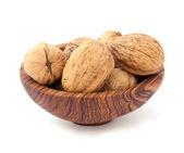 грецкий орех в деревянные пластины — Стоковое фото
