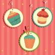 Cute retro cupcake — Stock Vector