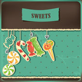 Sweets on strings. — Stock Vector