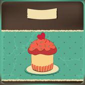 Cute retro cupcake in frame — Stock Vector