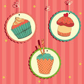 Cute retro cupcake — Stock Vector