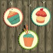 Cute retro cupcake on the string - Stock Vector