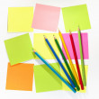 Stock Photo: Colour pencils and postit for reminder note