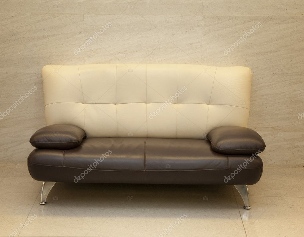 Sofa from brown leather — Stock Photo #8018537