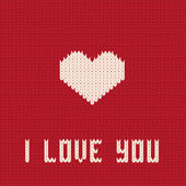 Knitted heart. Valentines day card. — Vetor de Stock