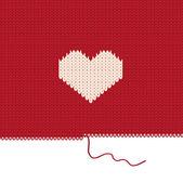 Gestricktes herz. valentinstag-karte. — Stockvektor