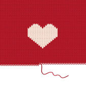 Knitted heart. Valentines day card. — Vector de stock