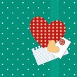Scrap retro background with heart and polka dots. — Stok Vektör