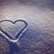 White snow with drown heart shape — ストック写真