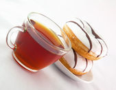 喝杯茶与甜甜圈 — 图库照片