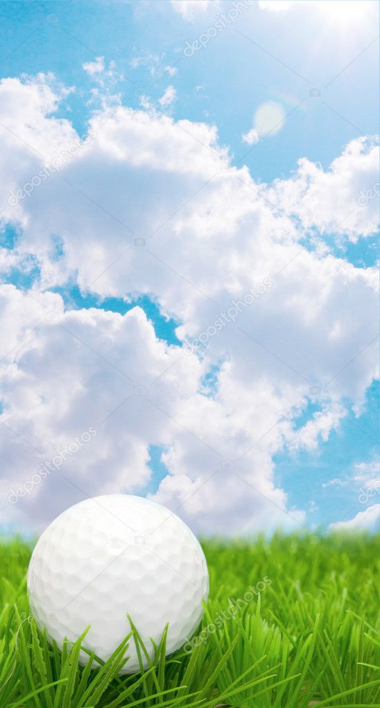 Golf Ball in Grass and Blue Sky  Stock Photo #10371098