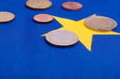 Euro Coins on EU Flag — Foto Stock