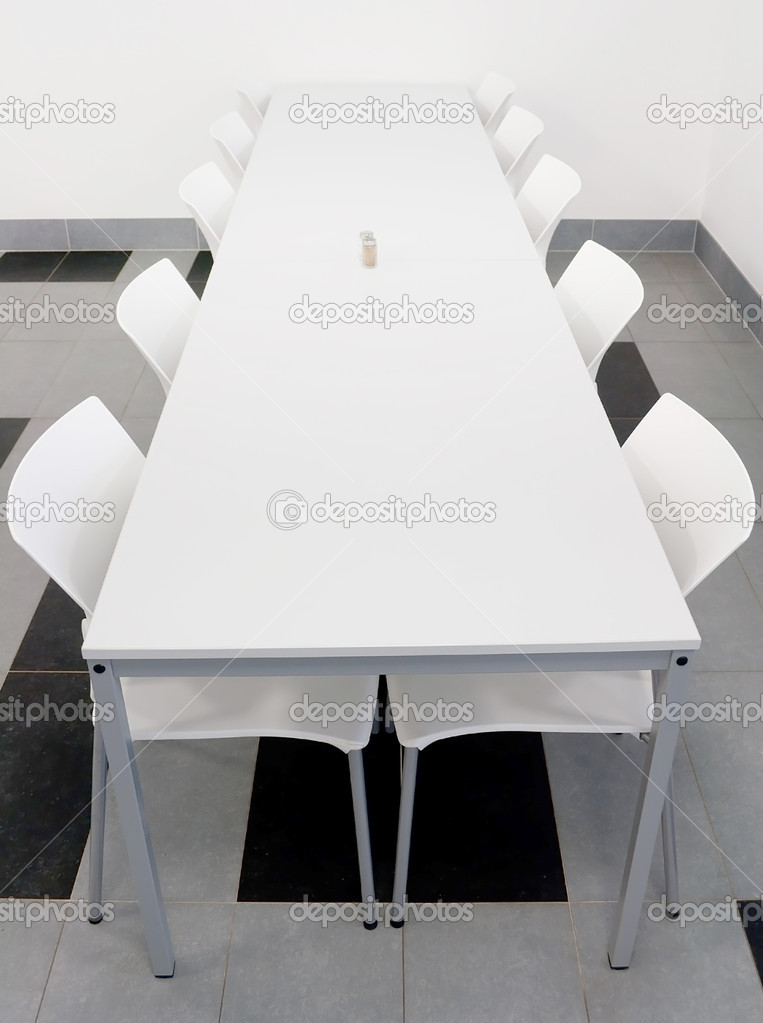 Interior of Modern Black and White Dining Hall — Stock Photo #8142421