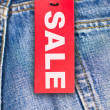 Jeans With Sale Tag — Stock Photo