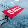 Jeans With Sale Tag — 图库照片