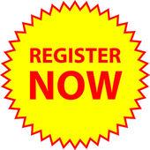 Vector register now — Stock Vector