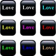 Set of vector buttons - Love — Stock Vector #8471353