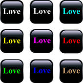 Set of vector buttons - Love — Stock Vector