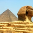 Sphinx in front of Pyramid Giza — Stock Photo