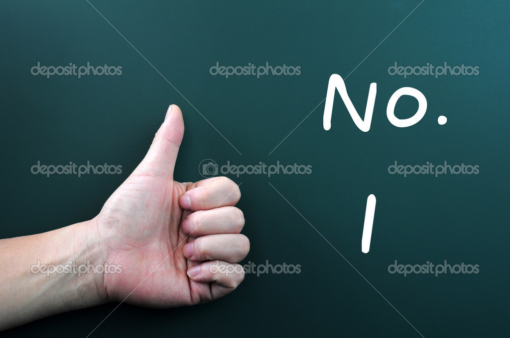 Thumb up with No. 1 written on a blackboard — Stock Photo #10580947