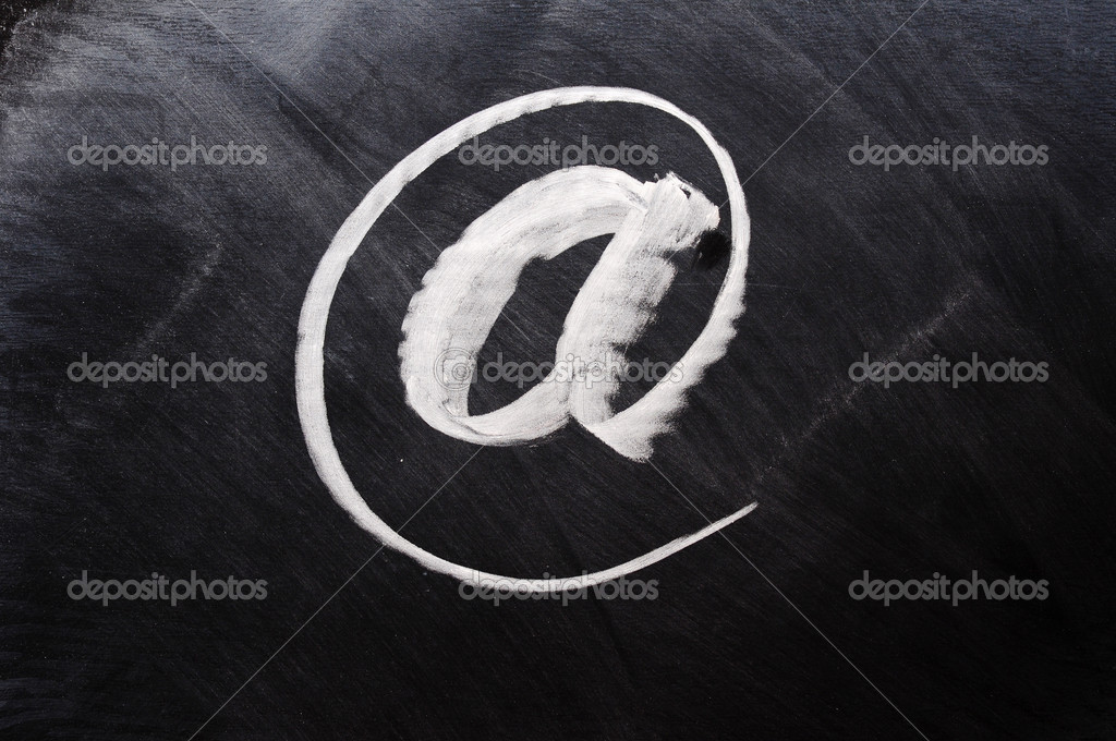 Symbol of internet written on blackboard — Stock Photo #8090082