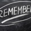 Stock Photo: Remember word written on blackboard