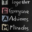 TEAM acronym written in colorful chalk — Stock Photo