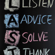 Stock Photo: LAST acronym - Listen,advice,solve and thank
