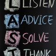 LAST acronym - Listen,advice,solve and thank — Stock Photo