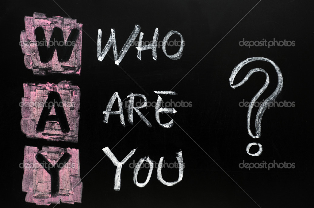Philosophy question of who are you written in chalk on blackboard  Stock Photo #8487450