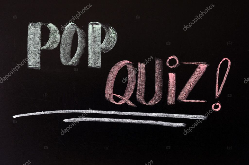 Pop quiz written in chalk on a blackboard — Stock Photo #8509065