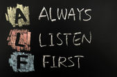 Afkorting van abc - altijd eerst luisteren — Stockfoto