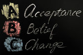 Acronym of ABC - acceptance,belief,change — Stock Photo
