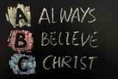 Acronym of ABC - Always believe Christ — Stock Photo